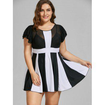 Two Tone Padded High Waisted Plus Size Swimdress - BLACK WHITE 5XL
