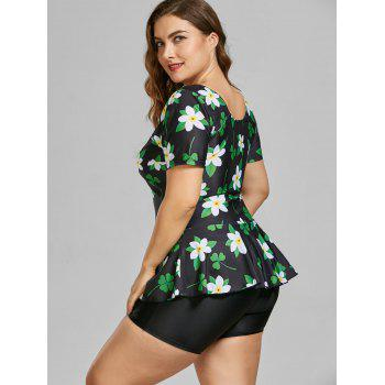 Floral Padded Plus Size Bathing Suit - BLACK 5XL