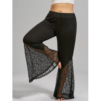 Plus Size Lace Trim High Waist Flare Pants