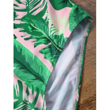 Ruffles One Piece Palm Leaf Backless Swimsuit - PINK M