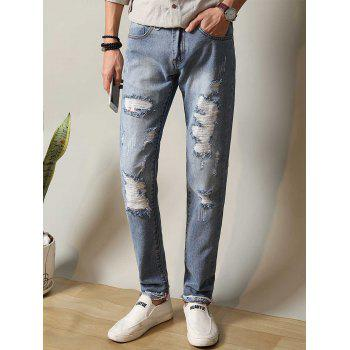Zipper Fly Straight Leg Metal Loop Ripped Jeans