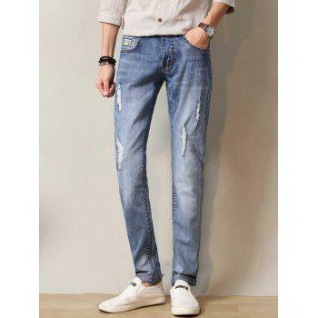Zipper Fly Straight Leg Applique Distressed Jeans