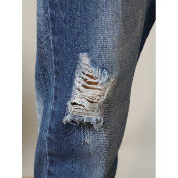 Straight Leg Faded Ripped Nine Minutes of Jeans - DEEP BLUE 36