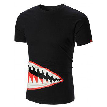 Shark Mouth Print Crew Neck T-shirt