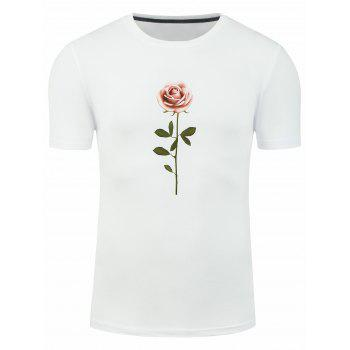 3D Rose Print Short Sleeve T-shirt
