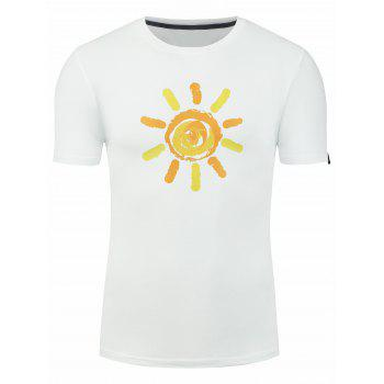 Short Sleeve Cartoon Sunshine Print T-shirt