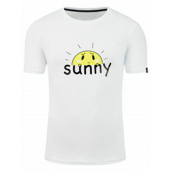 Cartoon Sunshine Graphic Print Short Sleeve T-shirt