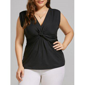 Plus Size Sleeveless Front Knot Top