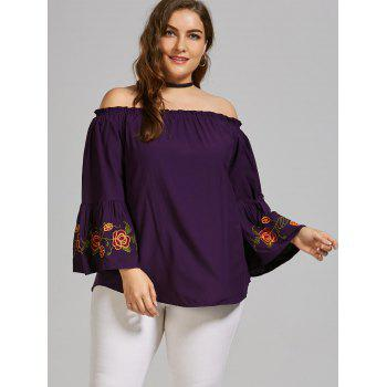 Plus Size Embroidered Off the Shoulder Blouse with Flare Sleeve - DEEP PURPLE DEEP PURPLE