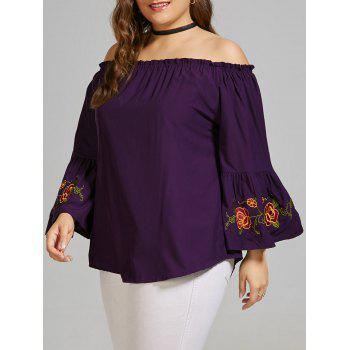 Plus Size Embroidered Off the Shoulder Blouse with Flare Sleeve - DEEP PURPLE 5XL
