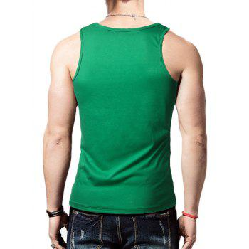 Distressed Graphic Print Round Neck Tank Top - GREEN GREEN