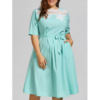 Plus Size Lace Panel Midi Modest Dress