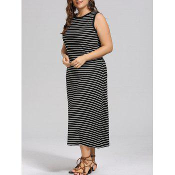 Plus Size Side Slit Maxi Stripe Tank Dress