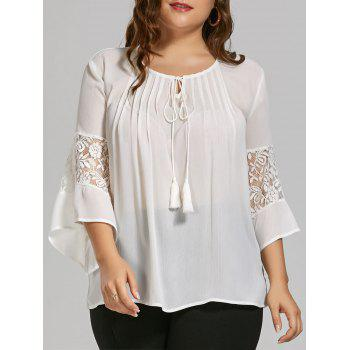 Plus Size Sheer Chiffon Bohemian Top with Lace Trim