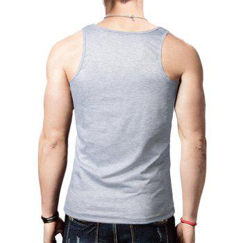 Distressed Graphic Print Round Neck Tank Top - GRAY GRAY