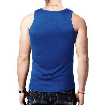 Distressed Graphic Print Round Neck Tank Top - BLUE BLUE