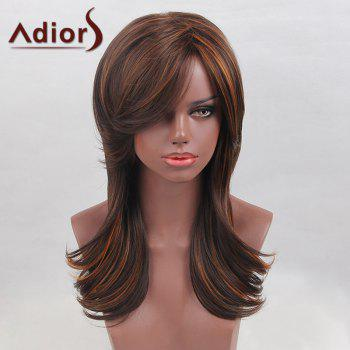 Adiors Long Oblique Bang Highlight Tail Upwards Colormix Straight Synthetic Wig
