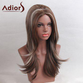 Adiors Long Highlight Colormix Center Part Straight Synthetic Wig - WHITE/BROWN
