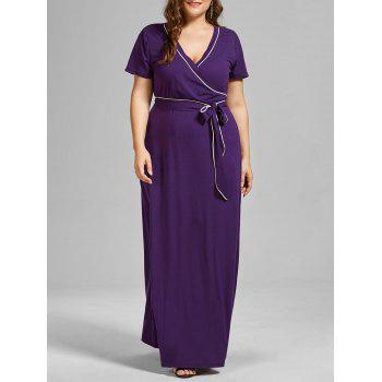 V Neck Floor Length Plus Size Dress