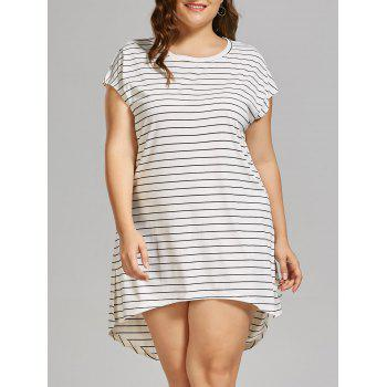 Plus Size High Low Stripe T-shirt Dress