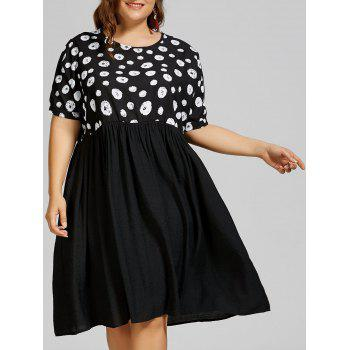 Plus Size Polka Dot Mid Trapeze Dress with Pockets