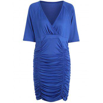 V Neck Ruched Bodycon Plus Size Dress