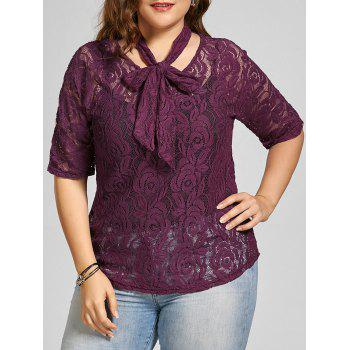 See Through Lace Plus Size Top with Belt
