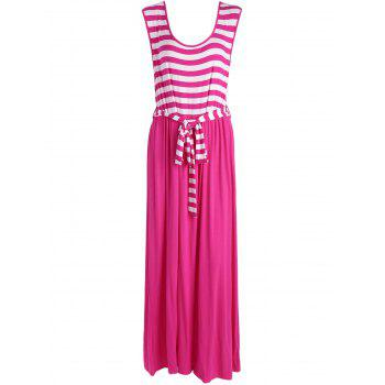 Striped Floor Length Plus Size Sleeveless Dress