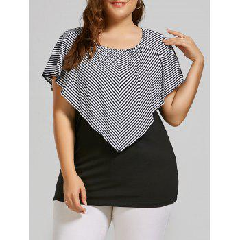Plus Size Striped Cap Sleeve Overlay T-shirt