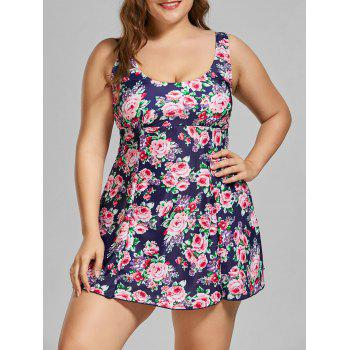 Floral Padded Plus Size Skirted Bathing Suit