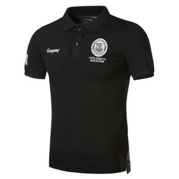 Graphic Embroidered and Applique Polo T-shirt