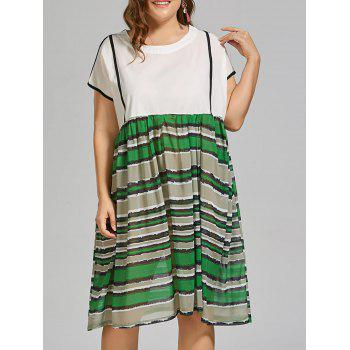 Plus Size Stripe Midi Beach Smock Dress