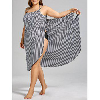 Stripe Plus Size Cover-up