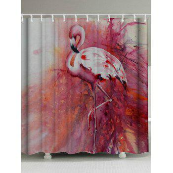 Flamingo Waterproof Shower Curtain with Hooks