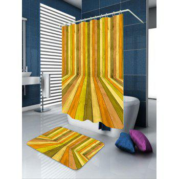 3D Wood Floor Door Waterproof Extra Long Shower Curtain - COLORFUL W71 INCH * L79 INCH