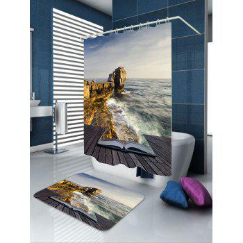 Ocean Scene Waterproof Fabric Shower Curtain - LIGHT BLUE W71 INCH * L79 INCH