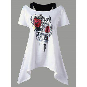 Asymmetrical Skull Print Cold Shoulder Top
