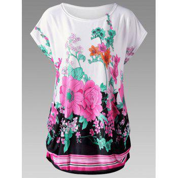 Plus Size Floral Curved Hem Baggy Top