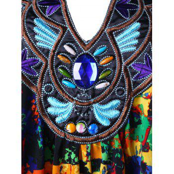 Plus Size Embroidery Decorated Handkerchief Top - COLORMIX 5XL