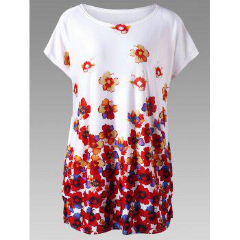 Plus Size Cap Sleeve Floral Tunic Top