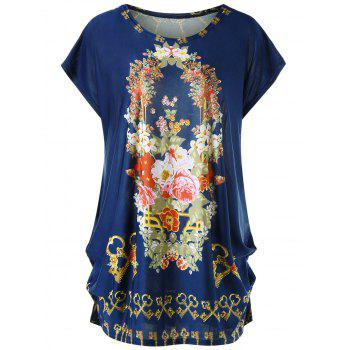 Plus Size Floral Cap Sleeve Baggy Top