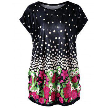 Plus Size Floral and Polka Dot Baggy Top