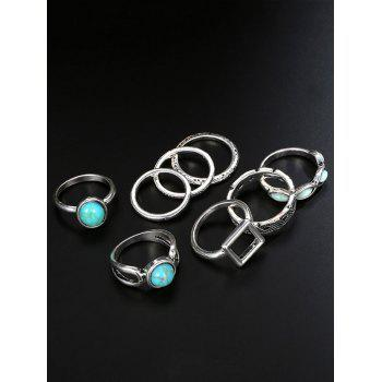 Faux Turquoise Oval Finger Ring Set - Argent