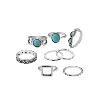 Faux Turquoise Oval Finger Ring Set