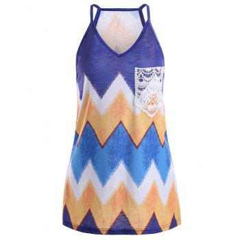 Front Lace Pocket Chevron Print Tank Top