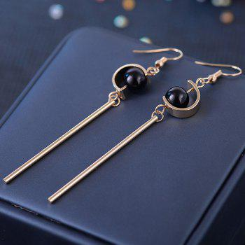 Long Metal Stick Bead Embellished Drop Earrings