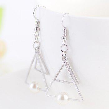Artificial Pearl Hollow Out Double Trangle Earrings