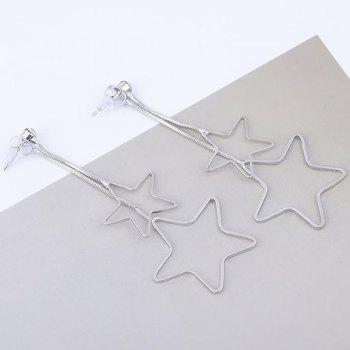 Metallic Double Hollow Out Pentagram Drop Earrings - SILVER