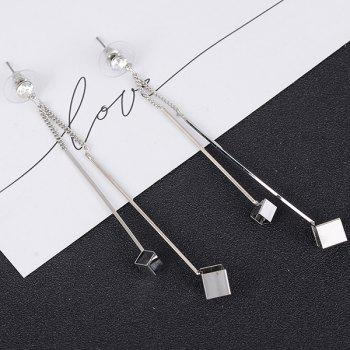 Metal Double Stick Cube Drop Earrings - SILVER