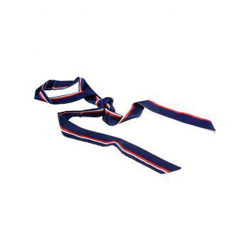 Muliticolor Different Plain Printed Scarf Ribbon - Bleu Violet
